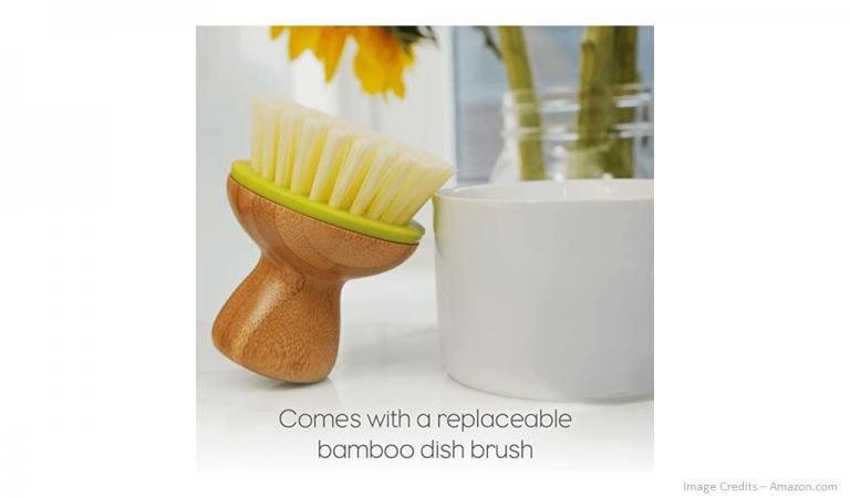 Eco-Friendly Bamboo Handle Kitchen Palm Brush Image